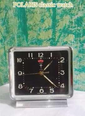 Jam meja classic model putar tanpa batere POLARIS original hidup antik