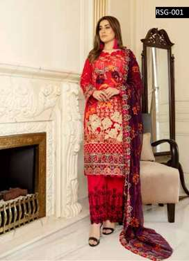 Rujhan Embroidered Swiss Gold Collection Vlo 6