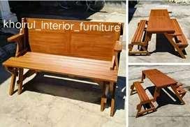 Bangku kursi magic santai lipat  material kayu jati..