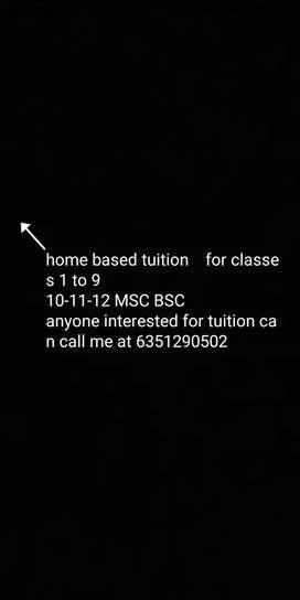 I am home based tutor.