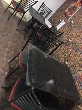 Resturant glass tables and steel chairs for sale