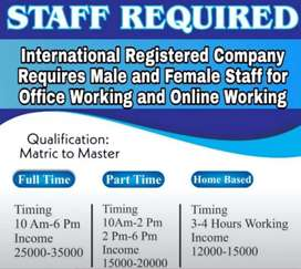 Full time,Part time, home base jobs vacanceis available for Lahore.