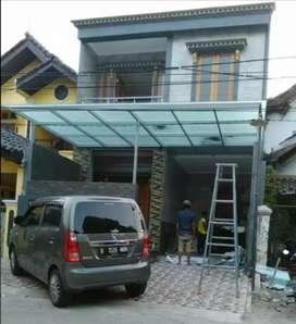 000178 canopy rangka tunggal atap kaca keren kuat dan kokoh
