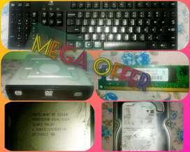 Keyboard,Hard disk ,Computer processor, RAM,CD/DVD drive