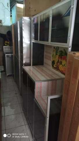 rak piring kaca 3 pintu kaca riben ful plat