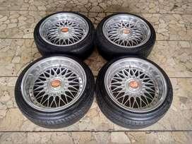 Velg Mobil BBS Ring 17x8/9 pcd 4x100, 4x114 + Ban Dunlop 205/45R17