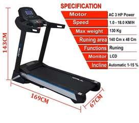 Alat Olahraga Treadmill Elektrik Komersial 3 HP Standar Gym