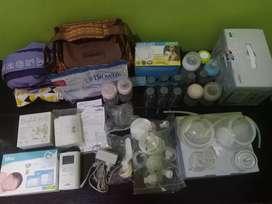 Pompa ASI Spectra 9+ handsfree botol breast pad kantong asi tas apron