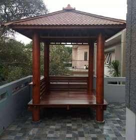 Saung gazebo kayu kelapa ukuran 2x2m ready stok freeongkir