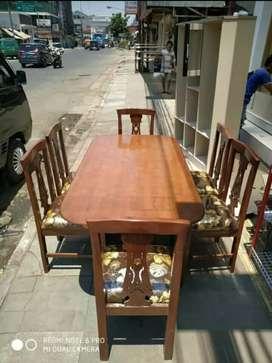 meja makan kayu 6 kursi free antar