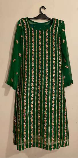 3 piece mehndi dress fully embroided
