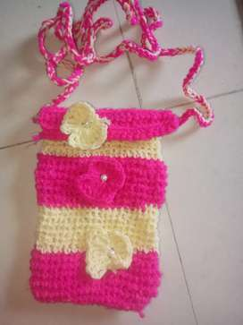 Crochet and pearl purse