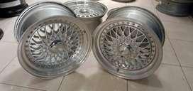 pelek mobil bbs rs ring 15 celong 7/8 hole8x100-114,3 silver polish
