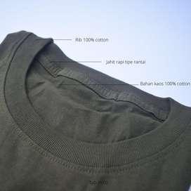Kaos polos warna army premium cotton combed 30s