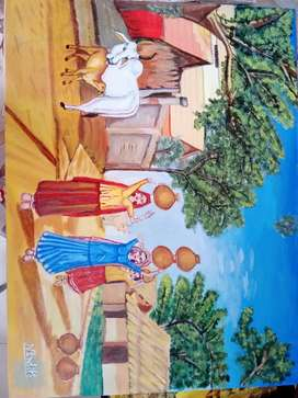 Painting of village