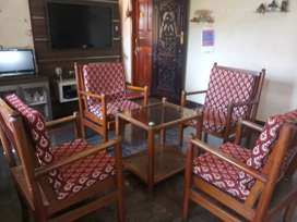 1 tepai and woden chairs set of 4
