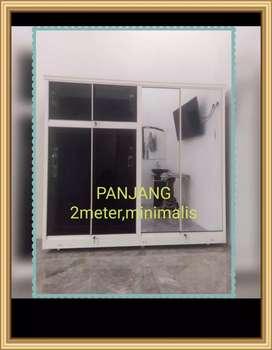 Lemari baju aluminium kaca jumbo panjang 2 meter MEWAH + Gratis Ongkir