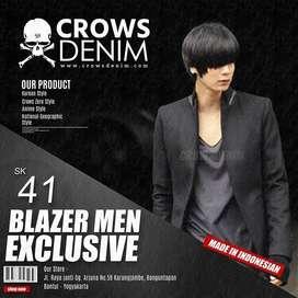 Blazer Casual Black Semi Coat Korean Style - SK41