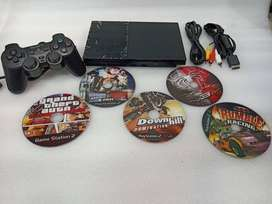 PS2 WITH 5 DVD 1 REMOTE AND ALL ACCESSORIES 1 MONTH WARRANTY 2999/-