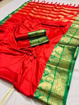Women's Beautiful Jacquard Waving Cotton Silk Saree