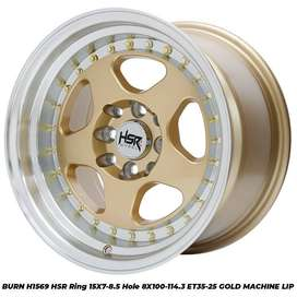 Harga velg BURN H1569 HSR R15X7/85 H8X100-114,3 ET35/25 GOLD/ML
