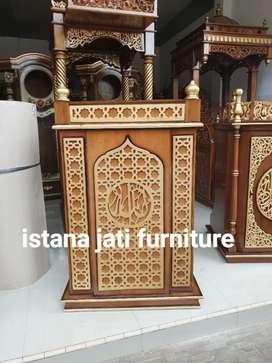Mimbar masjid Free ongkir Mimbar minimalis bahan kayu jati grate A