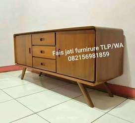 Jual meja tv retro jati ready stock
