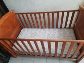 BABY COT- Wooden crib with 3 adjustable heights, free Mattress