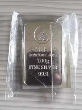 Perak Fine Silver 99.9 % 100 gram sertifikat SRH