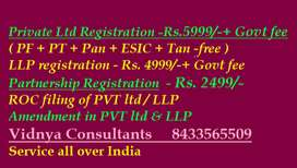 Private Ltd Company, LLP, Partnership Formation, all forms of business