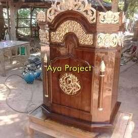 mimbar masjid ukiran jepara, mimbar podium jati