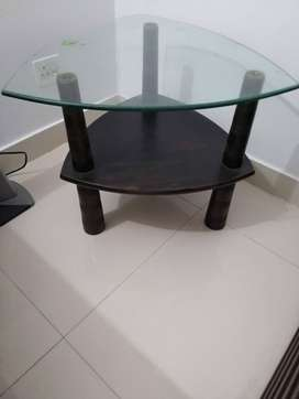 Triangle glass side table
