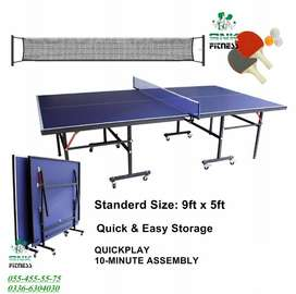 Brand New Box Pack Table Tennis Table 8 wheels Foldable Table - Blue