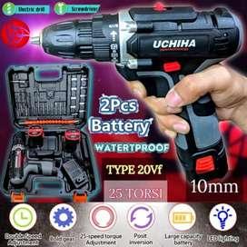 uchiha 20vf mesin bor baterai cordless drill charger tembok besi kayu