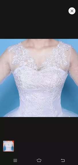dress pesta putih impor