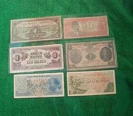 Uang kuno 1 rupiah 6 generasi Asli