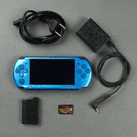 PSP 3000 Biru Vibrant Blue Slim 16 GB Fullset