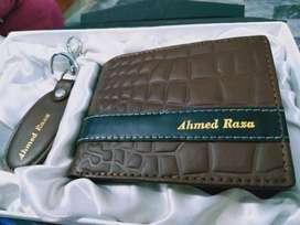 WALLET LADIES/GENTS FREE DELIVERY GOLDEN SILVER NAME EMBOSS
