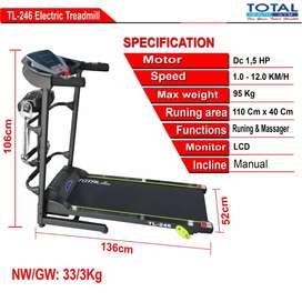 Ready treadmill listrik multifungsi murah motor 1,5hp gratis rakit