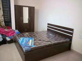 Brand new bedroom set with double bed and wardrobe from manufacture