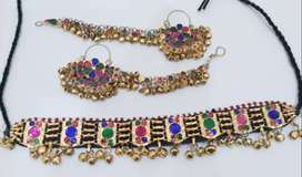 afghani necklace with sahara earrings for girls