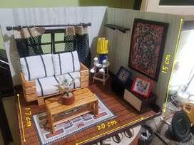 Diorama Ruang Tamu Doll House Room Box 01