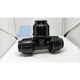 """aksesoris fitting pipa hdpe compression joint Tee 1/2"""" - Hitam"""