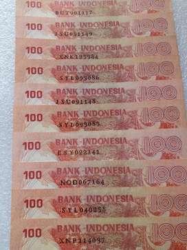 Uang Kertas Lama Kuno 100rp Tahun 1977 Gambar Badak Harga utk 10lembar