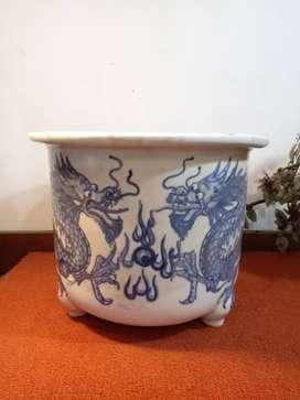 Pot Guci Gentong Porselen Biru putih dm 27cm