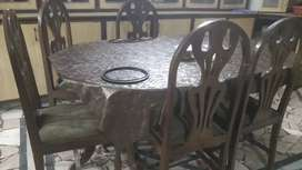 Dining table pure wood with 6 chairs