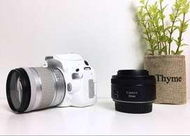 Kamera DSLR Canon EOS 200D Mulus Fullset Dapat 2 Lensa