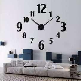 Jam dinding raksasa 3D bk2 hitam