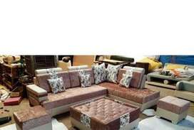 Brand new L shape sofa set with table and 2 puffies.