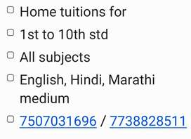 Home or online tuition for 1st to 10th, English, Hindi, Marathi medium